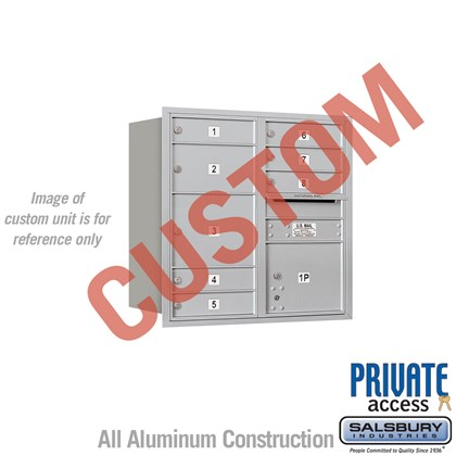 Custom Recessed Mounted 4C Horizontal Mailbox - 8 Door High Unit (30 1/2 Inches) - Double Column - Custom - Rear Loading - Private Access