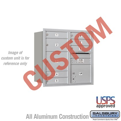 Custom Recessed Mounted 4C Horizontal Mailbox - 8 Door High Unit (30 1/2 Inches) - Double Column - Custom - Rear Loading - USPS Access