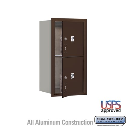Recessed Mounted 4C Horizontal Mailbox - 8 Door High Unit (30 1/2 Inches) - Single Column - Stand-Alone Parcel Locker - 2 PL4's - Bronze - Front Loading - USPS Access