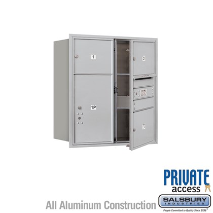 Recessed Mounted 4C Horizontal Mailbox (Includes Master Commercial Lock) - 9 Door High Unit (34 Inches) - Double Column - 3 MB3 Doors / 1 PL6 - Front Loading - Private Access