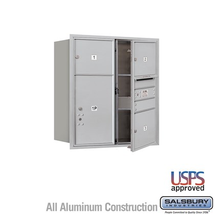 Recessed Mounted 4C Horizontal Mailbox - 9 Door High Unit (34 Inches) - Double Column - 3 MB3 Doors / 1 PL6 - Aluminum - Front Loading - USPS Access