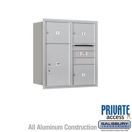 Recessed Mounted 4C Horizontal Mailbox (Includes Master Commercial Lock) - 9 Door High Unit (34 Inches) - Double Column - 3 MB3 Doors / 1 PL6 - Rear Loading - Private Access