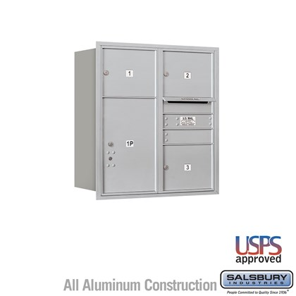 Recessed Mounted 4C Horizontal Mailbox - 9 Door High Unit (34 Inches) - Double Column - 3 MB3 Doors / 1 PL6 - Aluminum - Rear Loading - USPS Access