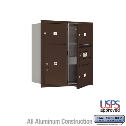 Recessed Mounted 4C Horizontal Mailbox - 9 Door High Unit (34 Inches) - Double Column - 3 MB3 Doors / 1 PL6 - Bronze - Front Loading - USPS Access
