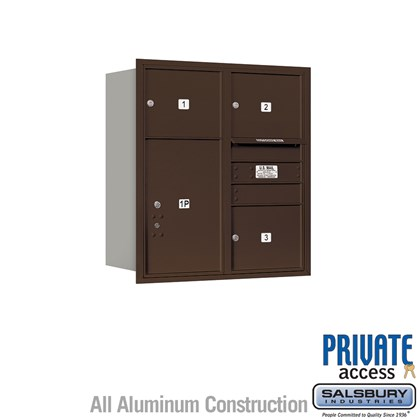 Recessed Mounted 4C Horizontal Mailbox (Includes Master Commercial Lock) - 9 Door High Unit (34 Inches) - Double Column - 3 MB3 Doors / 1 PL6 - Bronze - Rear Loading - Private Access