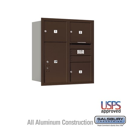 Recessed Mounted 4C Horizontal Mailbox - 9 Door High Unit (34 Inches) - Double Column - 3 MB3 Doors / 1 PL6 - Bronze - Rear Loading - USPS Access