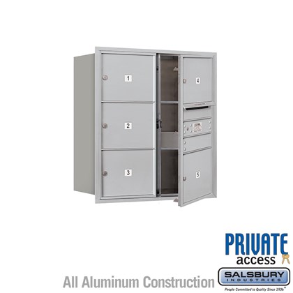 Recessed Mounted 4C Horizontal Mailbox (Includes Master Commercial Lock) - 9 Door High Unit (34 Inches) - Double Column - 5 MB3 Doors - Front Loading - Private Access