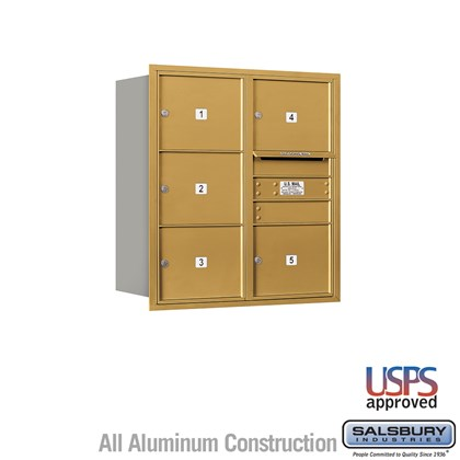 Recessed Mounted 4C Horizontal Mailbox - 9 Door High Unit (34 Inches) - Double Column - 5 MB3 Doors - Gold - Rear Loading - USPS Access