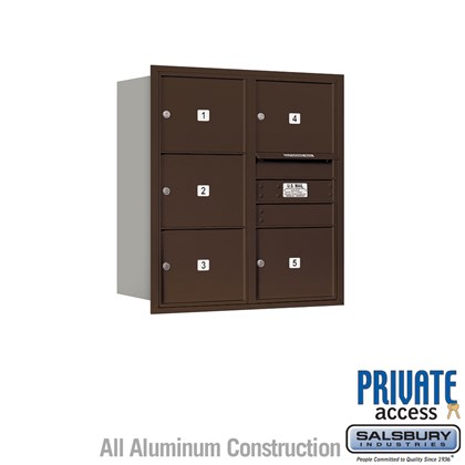 Recessed Mounted 4C Horizontal Mailbox (Includes Master Commercial Lock) - 9 Door High Unit (34 Inches) - Double Column - 5 MB3 Doors - Bronze - Rear Loading - Private Access