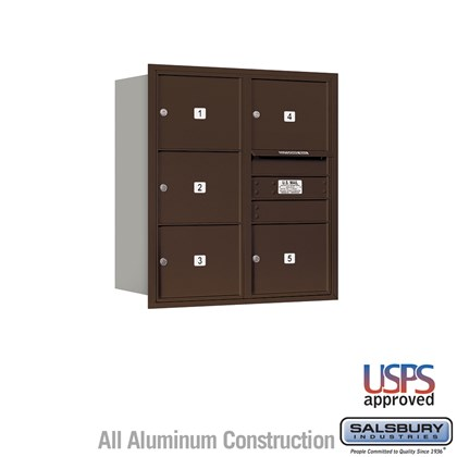 Recessed Mounted 4C Horizontal Mailbox - 9 Door High Unit (34 Inches) - Double Column - 5 MB3 Doors - Bronze - Rear Loading - USPS Access