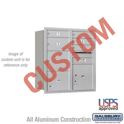 Custom Recessed Mounted 4C Horizontal Mailbox - 9 Door High Unit (34 Inches) - Double Column - Custom - Rear Loading - USPS Access
