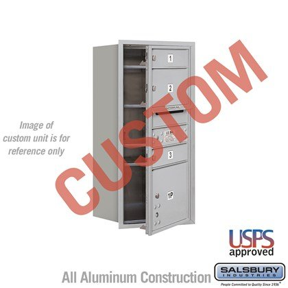 Custom Recessed Mounted 4C Horizontal Mailbox - 9 Door High Unit (34 Inches) - Single Column - Custom - Front Loading - USPS Access