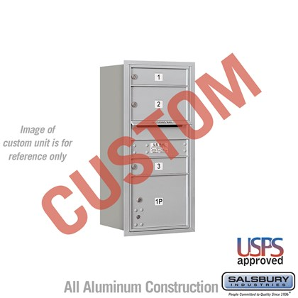 Custom Recessed Mounted 4C Horizontal Mailbox - 9 Door High Unit (34 Inches) - Single Column - Custom - Rear Loading - USPS Access