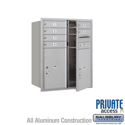 Recessed Mounted 4C Horizontal Mailbox (Includes Master Commercial Locks) - 10 Door High Unit (37 7/8 Inches) - Double Column - 6 MB1 Doors / 2 PL6's- Front Loading - Private Access