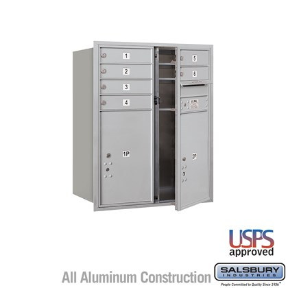 Recessed Mounted 4C Horizontal Mailbox - 10 Door High Unit (37 7/8 Inches) - Double Column - 6 MB1 Doors / 2 PL6's- Front Loading - USPS Access