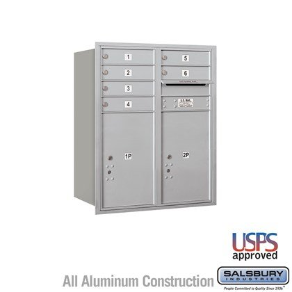 Recessed Mounted 4C Horizontal Mailbox - 10 Door High Unit (37 7/8 Inches) - Double Column - 6 MB1 Doors / 2 PL6's- Rear Loading - USPS Access