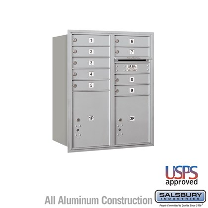 Recessed Mounted 4C Horizontal Mailbox - 10 Door High Unit (37 7/8 Inches) - Double Column - 9 MB1 Doors / 1 PL4.5 and 1 PL5 - Rear Loading - USPS Access