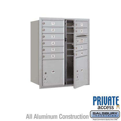 Recessed Mounted 4C Horizontal Mailbox (Includes Master Commercial Locks) - 10 Door High Unit (37 7/8 Inches) - Double Column - 10 MB1 Doors / 1 PL4 and 1 PL4.5 - Front Loading - Private Access