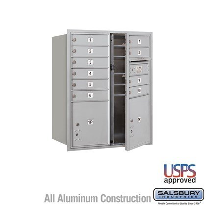 Recessed Mounted 4C Horizontal Mailbox - 10 Door High Unit (37-1/2 Inches) - Double Column - 10 MB1 Doors / 1 PL4 and 1 PL4.5 - Front Loading - USPS Access