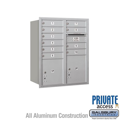 Recessed Mounted 4C Horizontal Mailbox (Includes Master Commercial Locks) - 10 Door High Unit (37-1/2 Inches) - Double Column - 10 MB1 Doors / 1 PL4 and 1 PL4.5 - Rear Loading - Private Access