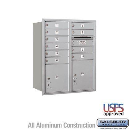 Recessed Mounted 4C Horizontal Mailbox - 10 Door High Unit (37 7/8 Inches) - Double Column - 10 MB1 Doors / 1 PL4 and 1 PL4.5 - Rear Loading - USPS Access