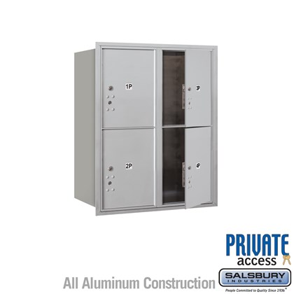Recessed Mounted 4C Horizontal Mailbox (Includes Master Commercial Locks) - 10 Door High Unit (37 1/2 Inches) - Double Column - Stand-Alone Parcel Locker - 4 PL5's - Front Loading - Private Access