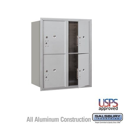 Recessed Mounted 4C Horizontal Mailbox - 10 Door High Unit (37 7/8 Inches) - Double Column - Stand-Alone Parcel Locker - 4 PL5's - Front Loading - USPS Access
