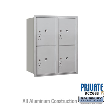 Recessed Mounted 4C Horizontal Mailbox (Includes Master Commercial Locks) - 10 Door High Unit (37 1/2 Inches) - Double Column - Stand-Alone Parcel Locker - 4 PL5's - Rear Loading - Private Access