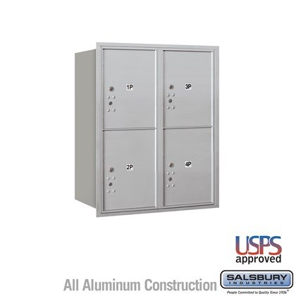 Recessed Mounted 4C Horizontal Mailbox - 10 Door High Unit (37 1/2 Inches) - Double Column - Stand-Alone Parcel Locker - 4 PL5's - Rear Loading - USPS Access