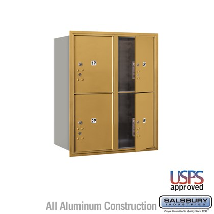 Recessed Mounted 4C Horizontal Mailbox - 10 Door High Unit (37 1/2 Inches) - Double Column - Stand-Alone Parcel Locker - 4 PL5's - Gold - Front Loading - USPS Access