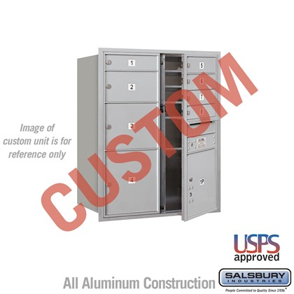 Recessed Mounted 4C Horizontal Mailbox - 10 Door High Unit (37 1/2 Inches) - Double Column - Custom - Front Loading - USPS Access