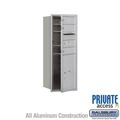 Recessed Mounted 4C Horizontal Mailbox (Includes Master Commercial Locks) - 10 Door High Unit (37 7/8 Inches) - Single Column - 3 MB1 Doors / 1 PL5 - Front Loading - Private Access
