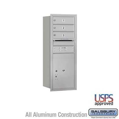Recessed Mounted 4C Horizontal Mailbox - 10 Door High Unit (37 7/8 Inches) - Single Column - 3 MB1 Doors / 1 PL5 - Rear Loading - USPS Access