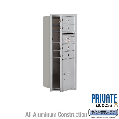 Recessed Mounted 4C Horizontal Mailbox (Includes Master Commercial Locks) - 10 Door High Unit (37 7/8 Inches) - Single Column - 4 MB1 Doors / 1 PL4.5 - Front Loading - Private Access