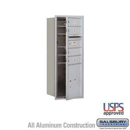 Recessed Mounted 4C Horizontal Mailbox - 10 Door High Unit (37 7/8 Inches) - Single Column - 4 MB1 Doors / 1 PL4.5 - Front Loading - USPS Access