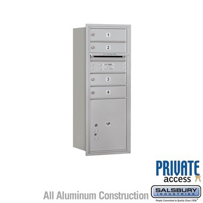 Recessed Mounted 4C Horizontal Mailbox (Includes Master Commercial Lock) - 10 Door High Unit (37-1/2 Inches) - Single Column - 4 MB1 Doors / 1 PL4.5 - Rear Loading - Private Access