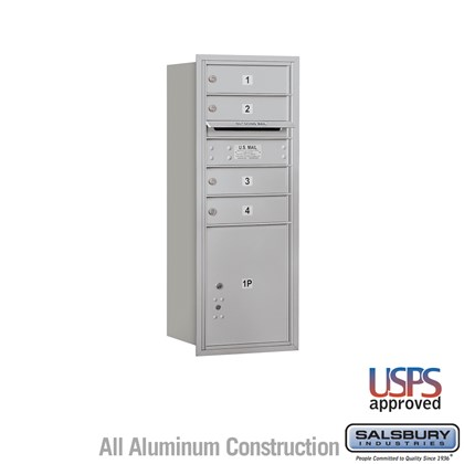 Recessed Mounted 4C Horizontal Mailbox - 10 Door High Unit (37 7/8 Inches) - Single Column - 4 MB1 Doors / 1 PL4.5 - Rear Loading - USPS Access