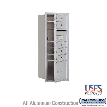 Recessed Mounted 4C Horizontal Mailbox - 10 Door High Unit (37 1/2 Inches) - Single Column - 5 MB1 Doors / 1 PL3 - Front Loading - USPS Access