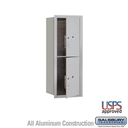 Recessed Mounted 4C Horizontal Mailbox - 10 Door High Unit (37 1/2 Inches) - Single Column - Stand-Alone Parcel Locker - 2 PL5s - Front Loading - USPS Access