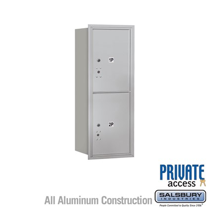 Recessed Mounted 4C Horizontal Mailbox (Includes Master Commercial Locks) - 10 Door High Unit (37 1/2 Inches) - Single Column - Stand-Alone Parcel Locker - 2 PL5s - Rear Loading - Private Access