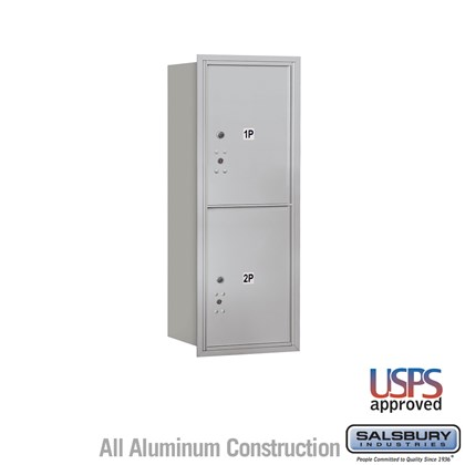 Recessed Mounted 4C Horizontal Mailbox - 10 Door High Unit (37 1/2 Inches) - Single Column - Stand-Alone Parcel Locker - 2 PL5s - Rear Loading - USPS Access