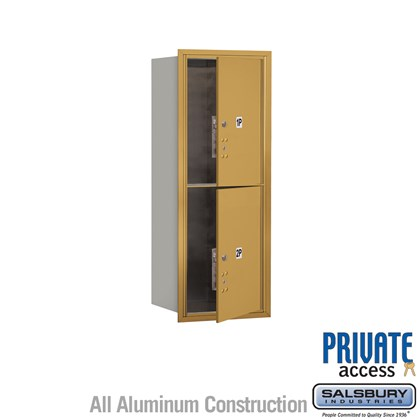 Recessed Mounted 4C Horizontal Mailbox (Includes Master Commercial Locks) - 10 Door High Unit (37 1/2 Inches) - Single Column - Stand-Alone Parcel Locker - 2 PL5s - Gold - Front Loading - Private Access