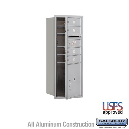 Recessed Mounted 4C Horizontal Mailbox - 10 Door High Unit (37 1/2 Inches) - Single Column - 4 MB1 Doors / 1 PL4.5 - Front Loading - USPS Access
