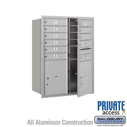 Recessed Mounted 4C Horizontal Mailbox (Includes Master Commercial Locks) - 11 Door High Unit (41 Inches) - Double Column - 10 MB1 Doors / 2 PL5s - Front Loading - Private Access