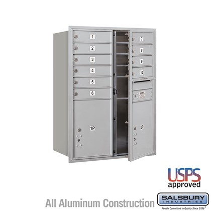 Recessed Mounted 4C Horizontal Mailbox - 11 Door High Unit (41 Inches) - Double Column - 10 MB1 Doors / 2 PL5s - Front Loading - USPS Access