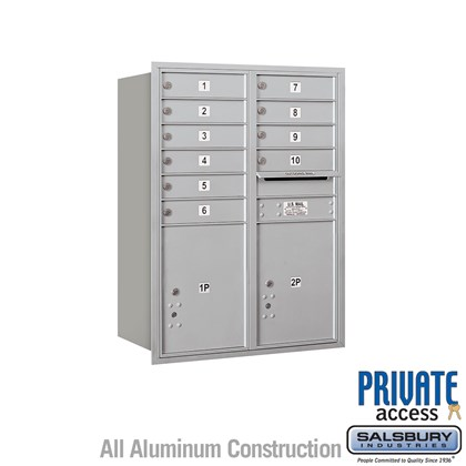 Recessed Mounted 4C Horizontal Mailbox (Includes Master Commercial Locks) - 11 Door High Unit (41 Inches) - Double Column - 10 MB1 Doors / 2 PL5s - Rear Loading - Private Access