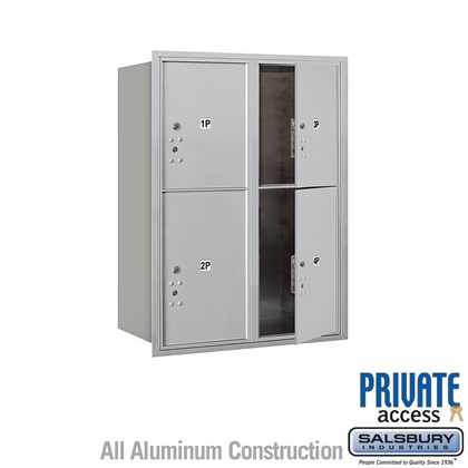 Recessed Mounted 4C Horizontal Mailbox (Includes Master Commercial Locks) - 11 Door High Unit (41 Inches) - Double Column - Stand-Alone Parcel Locker - 2 PL5's and 2 PL6's - Front Loading - Private Access