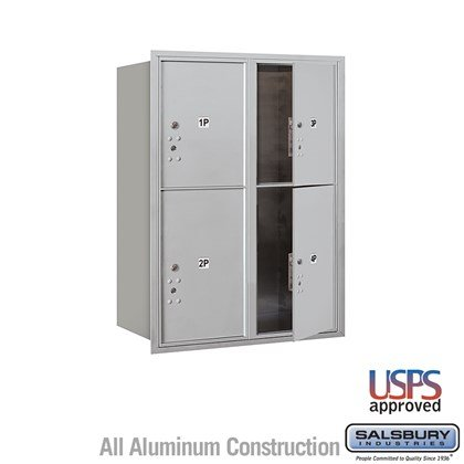 Recessed Mounted 4C Horizontal Mailbox - 11 Door High Unit (41 Inches) - Double Column - Stand-Alone Parcel Locker - 2 PL5's and 2 PL6's - Front Loading - USPS Access