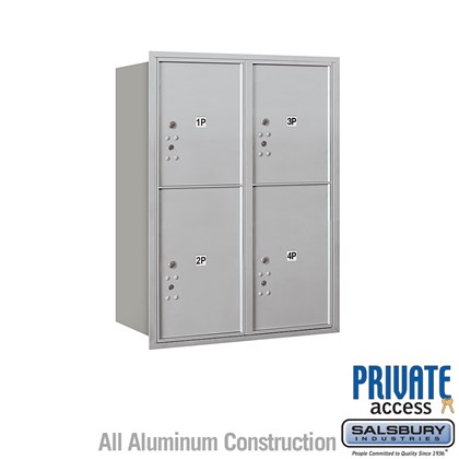 Recessed Mounted 4C Horizontal Mailbox (Includes Master Commercial Locks) - 11 Door High Unit (41 Inches) - Double Column - Stand-Alone Parcel Locker - 2 PL5's and 2 PL6's - Rear Loading - Private Access