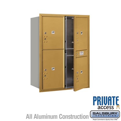 Recessed Mounted 4C Horizontal Mailbox (Includes Master Commercial Locks) - 11 Door High Unit (41 Inches) - Double Column - Stand-Alone Parcel Locker - 3 PL5's and 1 PL6 - Gold - Front Loading - Private Access